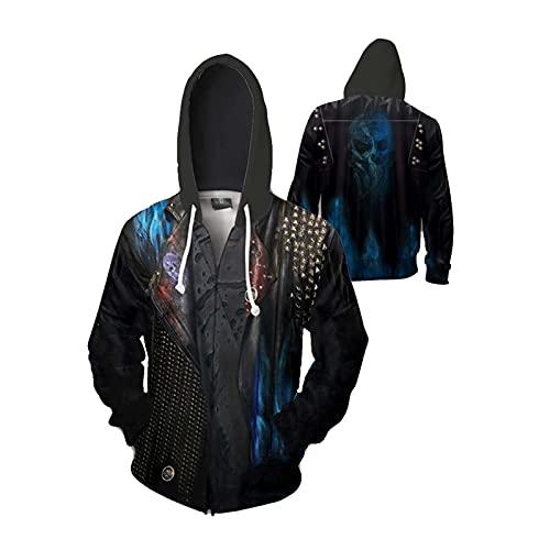 ZFF-BT Sudadera con capucha de descendientes de descendientes 3D de descendientes de hombres y hombres. (Color : Zipper2, Size : S)