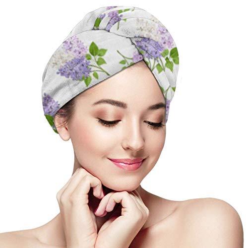 XBFHG Enveloppes De Serviette De Cheveux en Microfibre pour Les FemmesCapuchon De Cheveux Secs Rapides avec Bouton - Bleu Belles Branches De Fleurs Lilas sur Fleur De Fleur Verte