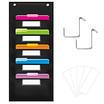 Organization Pocket Chart Wall File Organizer Folder with 5 File Pockets 5 Dry-Erase Name Cards Plus 2 Over Door Hooks 14 X 28 inch