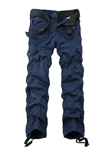 OCHENTA Men's Cotton Washed Multi Pockets Military Cargo Pant #3380 Sapphire Blue 36