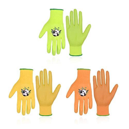 3 Paar Kinder-Gartenhandschuhe für Kinder im Alter von 2–13 Jahren, Bonbonfarben, Kinder-Gartenhandschuhe mit gummierter Handfläche für Mädchen und Jungen (Größe 5 (Alter 9–10), 3 Farben)