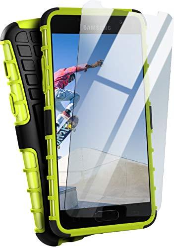 moex Panzerhülle kompatibel mit Samsung Galaxy A5 (2017) - Handyhülle mit Panzerglas, extrem stoßfest, Panzer Outdoor Hülle 360 Grad, Grün Schwarz