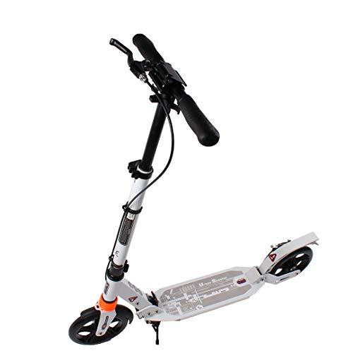 Calma Dragon Urban Scooter JC-663, pieghevole, Scooter con ruote grandi 200m, per adulti e bambini, con manubrio regolabile, materiale: alluminio, freno a disco (Bianco)