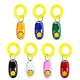UEETEK Clicker Adiestramiento Perros Mascotas con Correa de Muñeca 7 Colores 7 Unidades