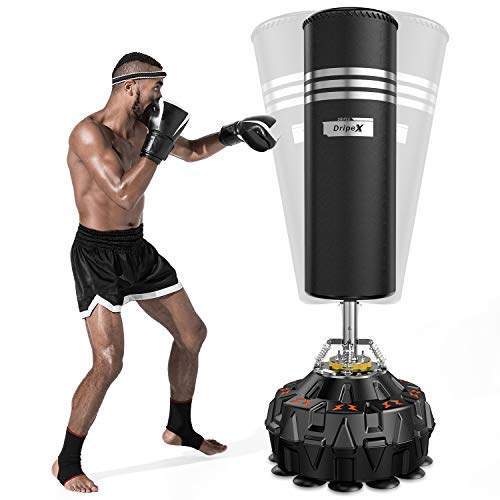Dripex Freestanding Punching Bag for Adult & Youth - Stands 70'' Approx, 182lbs Heavy Boxing Bag with ABS Base and 18 Suction Cups, Free Standing Heavy Punching Bag for Kickboxing/MMA/Boxing Training