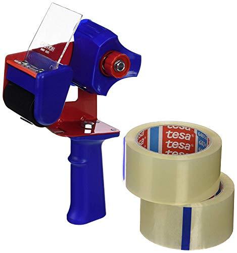 tesa Dérouleur de Ruban d'Emballage et tesapack Ruban d'Emballage en Kit - 2 x Ruban pour Colis de Haute Qualité avec 1 x Distributeur - Transparent - 66 m x 50 mm