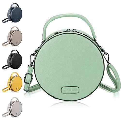 runde Handtasche Damen - veganes Leder, kleine Umhängetasche Damen, Schultertasche - Frauen-Hand-Tasche Mint Grün