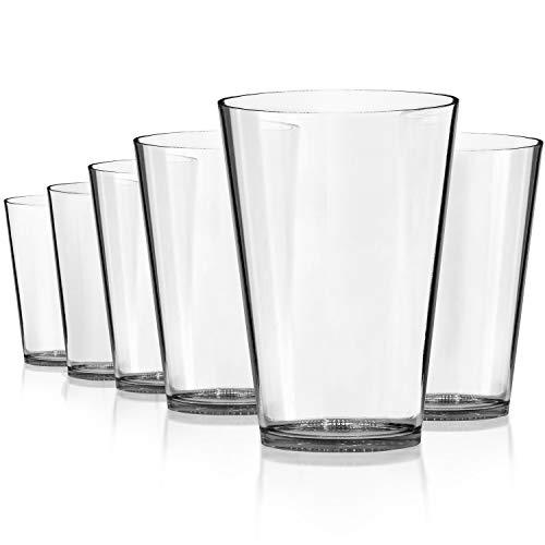 SCANDINOVIA - 32 oz Unbreakable Premium Classic Drinking Glasses Tumbler - Set of 6 - Tritan Plastic Cups - BPA Free - Dishwasher Safe