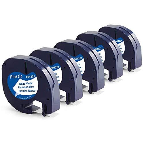 Suminey kompatible Band als Ersatz für Dymo Letratag Etikettenband Plastic White 12mm x 4m kunststoffetiketten Schwarz auf Weiß für LT-100H LT-100T XR QX50 2000 Plus, 91221/91201/S0721660