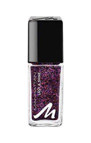 Manhattan Last & Shine Nagellack – Dunkler, glänzender Nail Polish mit rotem Glitzer für 10 Tage perfekten Halt – Farbe Club Nights 570 – 1 x 10ml
