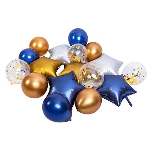 FVCENT Globos, 50 Piezas Azul Metalizado Dorado y Globos de Aluminio con Oro, Plata Estrella Azul Globos para Decoraciones Príncipe y cumpleaños