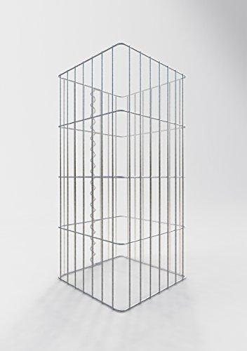 GABIONA Säule Steinkorb-Gabione eckig, Maschenweite 5 x 20 cm, Höhe 80 cm, Spiralverschluss, galvanisch verzinkt (37 x 37 cm)