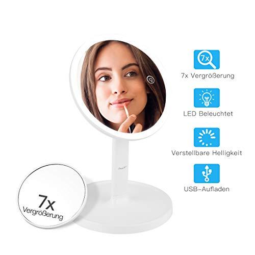 CkeyiN LED Spiegel für Schminkspiegel mit Doppelseiten 1x / 7X Vergrößerung Kosmetikspiegel