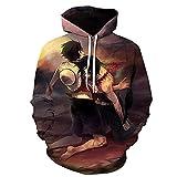 ZJYJSE Nueva Caricatura De Una Pieza D. Luffy 3D Hoodie Hombres Mujeres Casual Niños Niñas Streetwear Sudadera Chaqueta-Ws22218_M