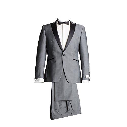 Wilvorst Anzug Smoking Sakko Smoking Hose ohne Bundfalte Grau Drop8 Extra Schmal Tailliert Geschnitten Runder Schalkragen 84% Wolle 16% Mohairwolle 230g 94
