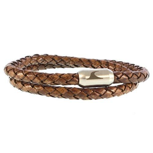 WAVEPIRATE® Echt Leder-Armband Hawaii G Cognac/Silber 36 cm Edelstahl-Verschluss in Geschenk-Box Surfer Männer Herren
