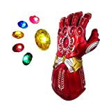 New Iron Man Infinity Gauntlet Red Glove LED with Removable Magnet for Kids Halloween Cosplay Costume Props Toys