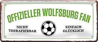 Blechschilder OFFIZIELLER Wolfsburg Fan Metallschild für Fußball Begeisterte Deko Artikel Schild Geschenkidee 28x12 cm