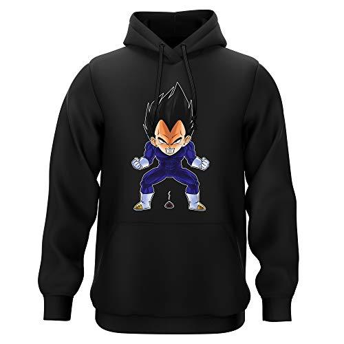 Okiwoki Sweat-Shirt à Capuche Noir Parodie Dragon Ball Z - DBZ - Végéta - Super Caca Vol.2 (Sweatshirt de qualité Premium de Taille L - imprimé en France)