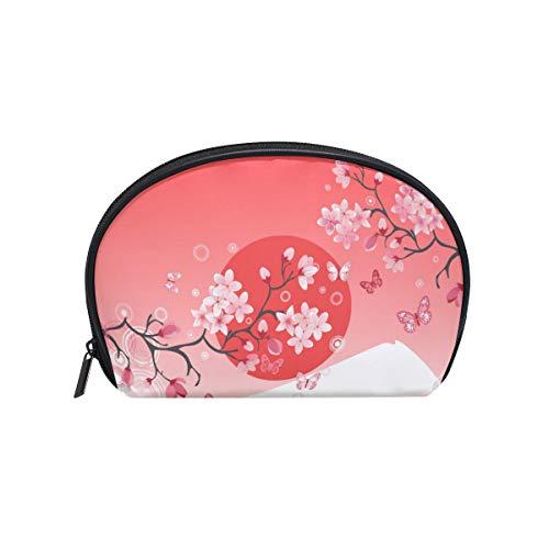 Trousse de maquillage avec fermeture éclair Cosmetic Bag Clutch Fujiyama Sakura Rouge Soleil Fleur Peinture Voyage Stockage Pochette Sac Carré pour Femmes dame