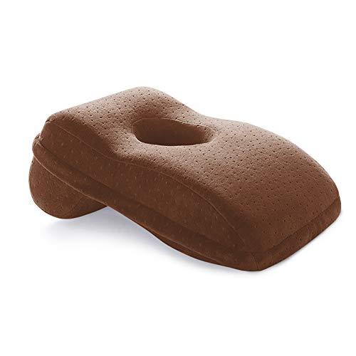 Kussen L-vorm klein nekkussen, traag rebound-drukkussen, geheugen katoenen hand- en nekbeschermingskussen, kussen zijdelings slaapkussen Geschikt voor kantoor,Brown,velvet