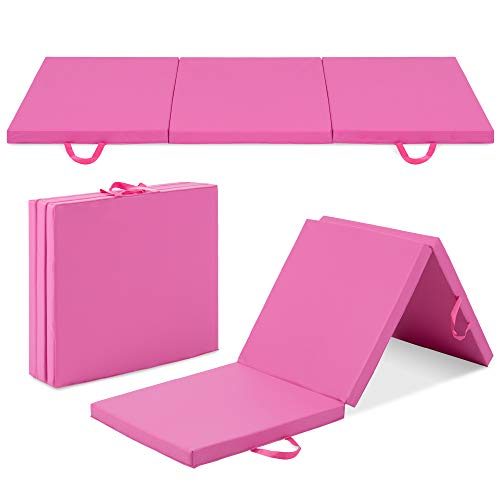 Best Choice Products 6ftx2ftx2in Folding Gym Mat Tri-Fold Exercise Gymnastics Aerobics Workout Fitness Floor Mat w/Carrying Handles – Pink