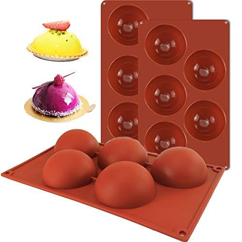 Stampo in silicone semi-sfera, stampo da forno per realizzare torte al cioccolato, gelatina, budino mousse (5 cavità/3 pezzi)