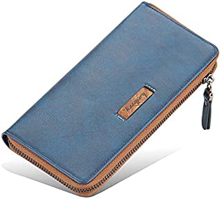 Strimm Classic Large Capacity Metal Zipper Men Leather Long Wallet Card Holder Purse Handbag with 2 Cash Compartment