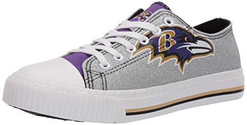FOCO NFL Baltimore Ravens Womens Ladies Glitter Low Top Canvas Sneaker Shoesladies Glitter Low Top Canvas Sneaker Shoes, Team Color, 9/X-Large