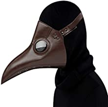 Plague Doctor Mask, Leather Bird Beak Mask for Halloween Cosplay Party, Retro Steampunk Masquerade Party Costume Props. (Brown)