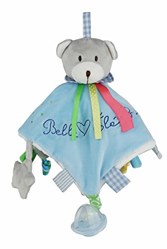 Belle Éléphant Baby Pink Plush Bear Doudou With Attached Pacifier. Crinkle Tags And Ears, Peep In Star Rattle,Jingle Bell In Teddy Bear's Head.(Great For Baby Shower Gift) (Blue)