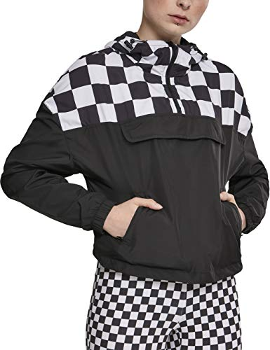 Urban Classics Damen Windbreaker Short Oversize Check Pull Over Jacket, Schwarz (Blk/Chess), Größe S