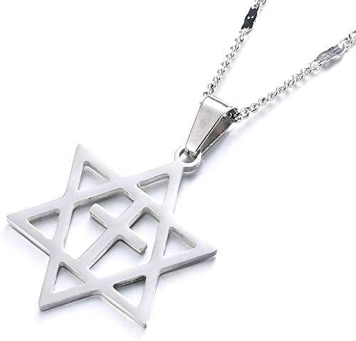 pyongjie Collar con Colgante de Estrella de David de Acero Inoxidable para Hombre, joyería de Estrella judía de Megan David Cruzada