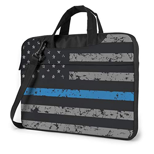 Thin Blue Line American Flag Laptop Bag Shockproof Briefcase Tablet Carry Handbag for Business Trip Office 13 inch