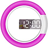 Reloj Despertador Digital Espejo Reloj de Pared Hueco, Reloj de Pared Digital Remoto, Anillo de Temperatura Lámpara Multicolor Lámpara de Pared Hueca Redonda de 12 Pulgadas