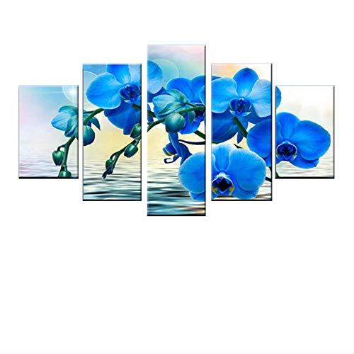 DGGDVP 5 Piezas de imágenes de orquídeas Azules para Sala de Estar nórdica Decoración del hogar Pintura Cartel Moderno Lienzo HD Impresión Arte de la Pared Tamaño 2 Sin Marco
