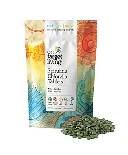 On Target Living Spirulina Chlorella | 1000 Tablets- 250 G (8.8 oz) | Vegan | Immune System Boosting | Alkalyzing | Nutrient Dense | Detoxifying | Protein Dense | Energy | Recovery |