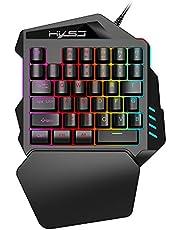 HXSJ RGB Mechanisch Gaming Keyboard,eenhandig membraan mini 35 sleutel met USB bekabeld Type-C Professioneel Gaming Keypad voor PUBG LOL CS Gamer
