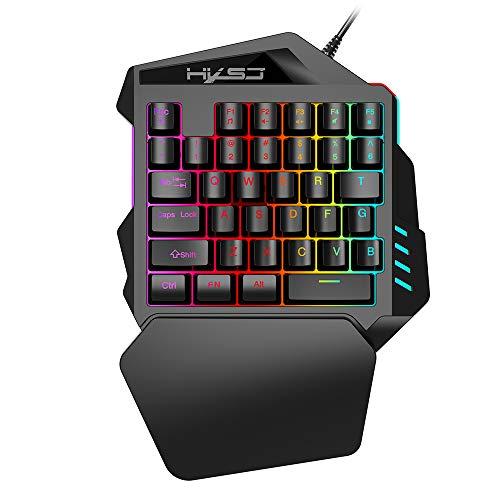 HXSJ V100 Gaming Tastatur Einhändig Membran Mini 35 Schlüssel mit USB verkabelt für PUBG LOL CS Gamer