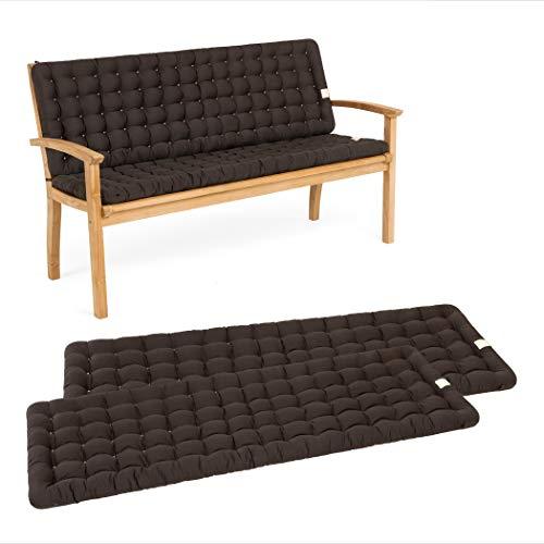 HAVE A SEAT Luxury – Juego de cojines de asiento con respaldo para banco de jardín, cómodo cojín lavable hasta 95 °C, fácil de limpiar, fabricado en Alemania (140 x 48 cm, marrón)