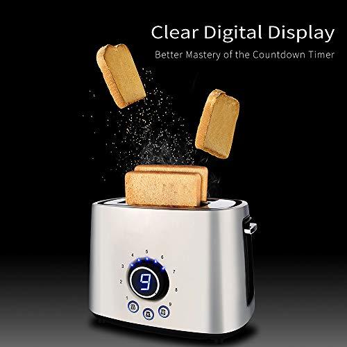 Grille-pain, écran LCD COOCHEER Toaster Inox 2 tranches à larges fentes, grille-pain compact en acier inoxydable avec 9 réglages de teinte, grille-réchaud amovible, ramasse-miettes amovible