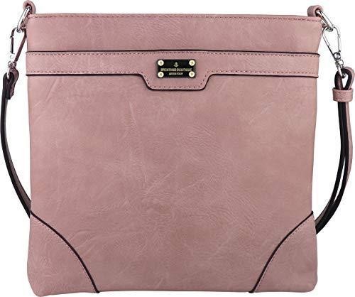 B BRENTANO Vegan Medium Crossbody Handbag Purse (PL - Blush)