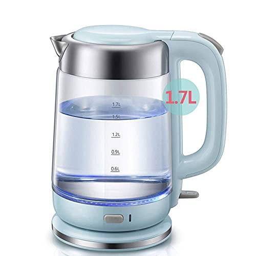 Tetera de agua inalámbrica, hervidor eléctrico de vidrio, 1,7 l, hervidor de agua inalámbrico ecológico, hervidor de agua silencioso, hervidor de agua con indicador LED, apagado automático y protecció