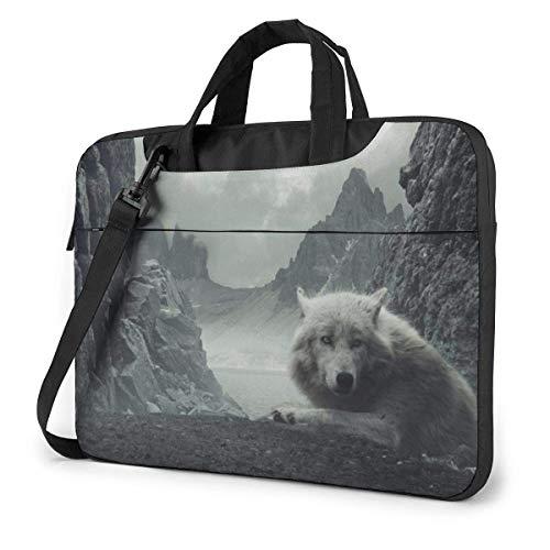 DJNGN Laptop Shoulder Bag 13 Inch, White Wolf Briefcase Bag