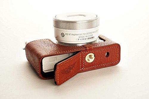 ニコン Nikon 1 J4用本革カメラケース(電池,SDカード交換可) ブラック、ブラウン (レンズカバー付ケース&ストラップLK15&バッテリーケース, ブラウン)