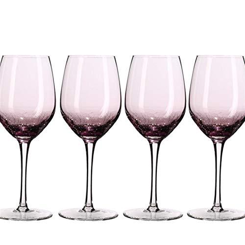 WAWAYU Copa de Vino Tinto, 4pcs Copa de Vino de la Jarra de Cristal de Color de Vino Personalizadas Cristal Decoración...