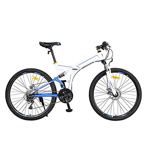 KJWXSGMM Faltende Mountainbikes, 24-Zoll-26-Zoll-Rad-Doppel-Scheibenbremse Volle Suspension Anti-Rutsch, Mat Fahrrad Für Erwachsene Teenager Männer Frauen,B