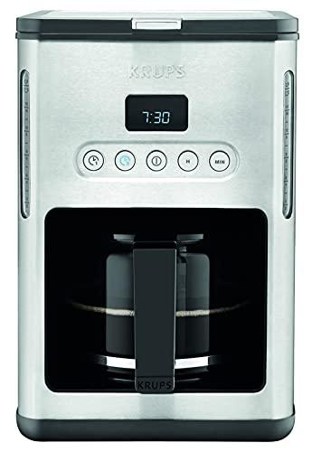 Krups KM442D Premium ekspres do kawy z filtrem, na 10 – 15 filiżanek, 1000 W, programowalny, funkcja utrzymania ciepła, stal szlachetna, czarny