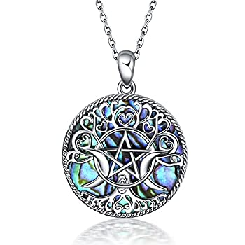 YFN Triple Moon Goddess Necklace Sterling Silver Pentagram Pentacle Pendant necklace Pagan Wiccan Magic Amulet Tree of Life Jewelry for Women Men