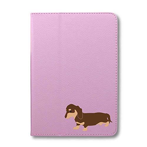ダックスフンド チョコ&タン タブレットケース iPad 手帳型 iPad 2019(10.2) さくら色 犬 柴犬 黒柴 日本犬 ペット 動物 アニマル タブレットカバー タブレット ブック型 iPad7 アイパッド 桃 Fave フェイブ f02014